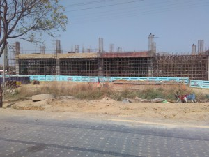 Metro development work along side Noida Greater Noida Expressway